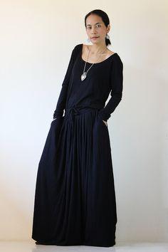 Black Maxi Dress -  Long Sleeve dress : Autumn Thrills Collection. $59.00, via Etsy.
