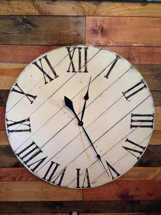 Antique White pallet clock with diagonal slats made from reclaimed wood