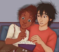 Tip and Hiro Black Couple Art, Black Love Art, Black Girl Art, Art Girl, Couple Noir, Interracial Art, Fond Design, Character Art, Character Inspiration