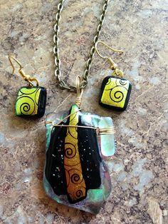 Glass fusion dicro swirl pendant and earrings by LikeYourJunk, $40.00