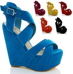 LADIES WOMENS NEW FAUX SUEDE PLATFORM WEDGE STRAPY SANDALS SHOES