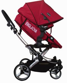 Englacha Easy Stroller, Red. Major US car seats can be used on easy. Seat can be easily adjusted to face right and left sides. 5 point safety belt with cover. Compact fold with auto folding hook. Foot operated linked parking brakes.