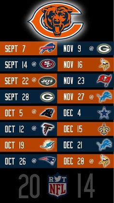 Can't believe that I am going to miss the first opening day in 15 years!!  SIGH!! Bears 2014 schedule