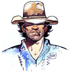 Imagen del exteniente Mike Blueberry, uno de los personajes principales de la obra del dibujante Jean Giraud, Moebius.