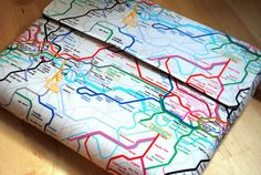 MacBook sleeve or Laptop sleeve13- inch -- foam padding -- Subway map