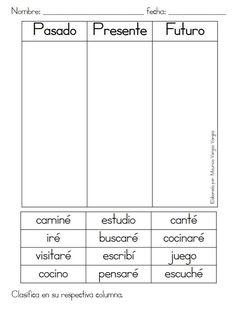 Resultado de imagen de ejercicios verbos presente pasado y futuro primaria Dual Language Classroom, Bilingual Classroom, Bilingual Education, Spanish Classroom, Spanish Lessons For Kids, Spanish Teaching Resources, Spanish Activities, Spanish Worksheets, French Lessons