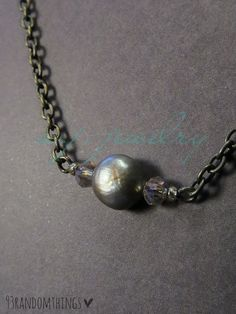 Boho Rustic Pearl Crystal Bead Antique Brass Chain 18-20 Inch Long Necklace #Handmade