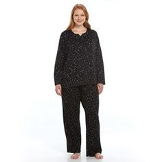 Plus Size Croft & Barrow® Pajamas: Textured Knit Top & Pants Pajama Set