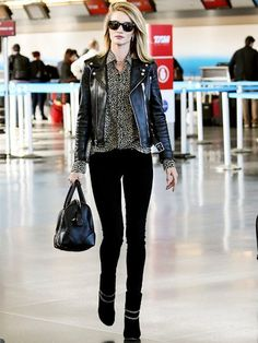 Rosie Huntington in Saint Laurent boots... Like it or not? (Photo credit: Who What Wear)