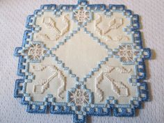 Hardanger Norwegian Embroidery Doily Ivory with Blues
