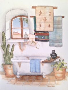 southwestern bath print - desert watercolor - Carol Jean Green - boho wall art by ninedoorsvintage on Etsy