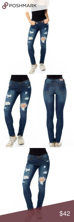 ✨ NEW ✨ Blue Stone Wash Distressed Skinny Jeans Blue denim stone washed skinny jeans featuring a mid rise, 5 pockets, and front distressing.   ✨ 97% cotton, 3% spandex.  ✨ Price Firm - bundle for discount  Happy to answer any questions ☺☺ Luxe Label Jeans Skinny
