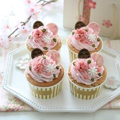 Japanese Cookies, Japanese Pastries, Japanese Sweets, Cute Desserts, Sweets Recipes, Tea Cakes, Cupcake Cakes, Mothers Day Cupcakes, Beautiful Cupcakes