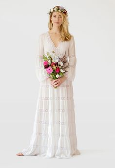 The Caitlin by Stone Fox Bride. lose the flowers and the head thing. I want this for everyday