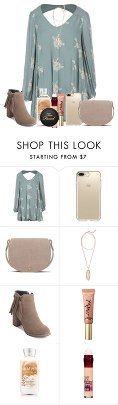 """""""recap of the Soccer Banquet!"""" by arieannahicks on Polyvore featuring Free People, Speck, Tory Burch, Kendra Scott, Too Faced Cosmetics and Maybelline"""