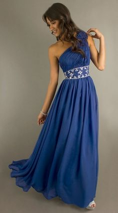 Elegant Pleated Floral One Shoulder Blue Evening Gown [TBQP082 ...