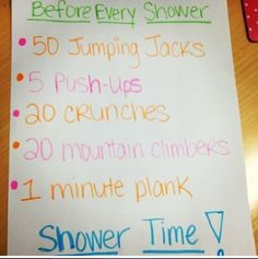 Pre shower work out