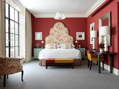 The one bedroom Crosby Suite with maroon walls and a dramatic embroidered cream headboard Boutique Hotel Bedroom, Hotel Bedroom Design, Maroon Walls, Cream Bedrooms, Luxury Interior, Interior Design, Soho Hotel, Hotel Architecture, New York Hotels