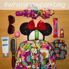 A peek inside one person's park bag for Disney World … Disney Time, Disney 2017, Disney Magic, Walt Disney, Disney Land, Disney Stuff, Disney World Parks, Disney World Planning, Disney World Vacation