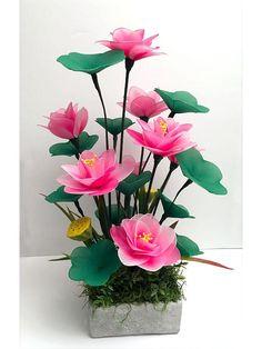Nylon Flowers, Felt Flowers, Diy Flowers, Colorful Flowers, Flower Decorations, Fabric Flowers, Beautiful Flowers, Creative Flower Arrangements, Floral Arrangements