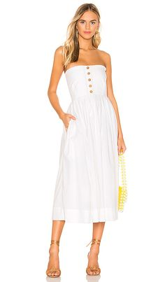 Lilah Pleated Tube Dress in White
