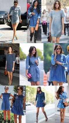 Vestido jeans - 37 Denim Outfits To Update You Wardrobe Today Casual Chic, Casual Wear, Casual Outfits, Cute Outfits, Denim Outfits, Denim Dresses, Denim Fashion, Look Fashion, Womens Fashion