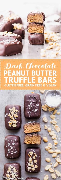 These Dark Chocolate Peanut Butter Truffle Bars are easy to make and SO delicious - these are the perfect healthier candy bar! They're gluten-free and grain-free with a vegan option.