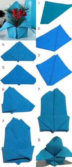 Folding napkins - interesting ideas and napkin technology for festive table decorations napkin wrinkle anleitung_weihnachtliche-with-tischdekoration-to-crown-Napkins Christmas Napkins, Christmas Origami, Christmas Christmas, Napkin Folding, Christmas Decorations, Table Decorations, Wedding Napkins, Woodland Party, Deco Table