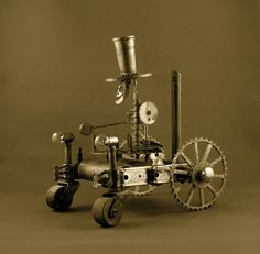 Tesla Time Tractor vintage metal sculpture by steamplanet on Etsy, $250.00
