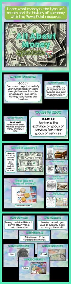 Money: Money PowerPoint   Learn what money is, the types of money and the history of currency with this PowerPoint resource!