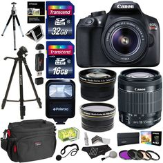 """Canon EOS Rebel T6 Digital SLR Camera Kit (New Model for T5), EF-S 18-55mm f/3.5-5.6 IS II Lens, 50"""" Polaroid Tripod, Memory Cards, Canon case and Accessory Bundle"""