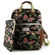 NEW BUTTERFLY BLACK RUCKSACK BACKPACK WITH IPAD CASE COLLEGE SCHOOL BAGS – GIFTS