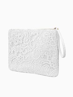 Lace Embroidery Clutch Bag In White