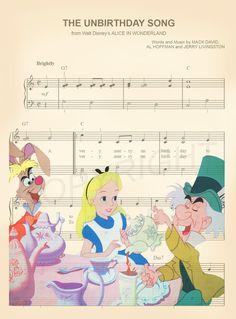 Alice au pays des merveilles Disney partition de par AmourPrints