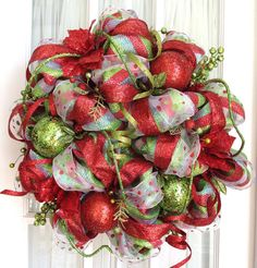 christmas deco mesh wreath | Deco Mesh Christmas Wreath For Door or Wall Lime Green Red White ...