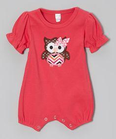 Love this Petunia Petals Fuchsia Polka Dot Owl Romper - Infant by Petunia Petals on #zulily! #zulilyfinds