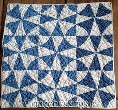 Antique Indigo Blue And White Pinwheel Doll Or Table Quilt 1880s 15x14