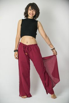 Women's Thai Harem Double Layers Palazzo Pants in Solid Red