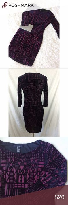 FOREVER 21 tribal burgundy + black velvet dress Brand: Forever 21 Size: L Condition: perfect condition  Measurements:  Length: 19in Bust: 17in Waist: 14in  *body con *3/4 sleeve Forever 21 Dresses Long Sleeve