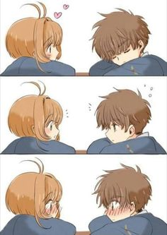 Awww que tiernos Sakura y Shaoran (*/ω\*)(>ω<)