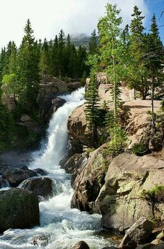 Colorado, Rocky Mountains Anyplace with a waterfall is a good place Beautiful Waterfalls, Beautiful Landscapes, Colorado Rocky Mountains, Colorado Usa, Colorado Rockies, Places To Travel, Places To See, Rocky Mountain National Park, Adventure Is Out There