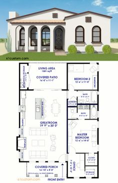 This small Spanish Contemporary house plan is a 1301 sqft single level home with 2 bedrooms, a large, open concept greatroom, and a charming front porch. Contemporary House Plans, Modern House Plans, Small House Plans, Modern House Design, House Floor Plans, Contemporary Architecture, Contemporary Office, Spanish Style Homes, Spanish House