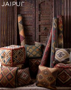 The Bedouin collection is hand woven in wool and jute . It has a rustic ,authentic look inspired by traditional kilimm patterns in rich rusts, blues and golds. The collection has a vintage, eclectic look that can easily be mixed and matched with its coordinating pillow and pouf collection.