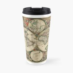 'vintage map of the world' Travel Mug by ModernFaces Map Design, Sell Your Art, Travel Mug, Art Prints, Steel, Mugs, Printed, World, Awesome