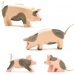 Schweine Ferkel gefleckt gross und klein 4tlg. Ostheimer SET
