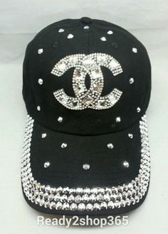 Bling Rhinestone Studded Ballcap Womans Cap Baseball Hat Tennis Black New  Swarovski Crystals 6bfc2ffcb13e