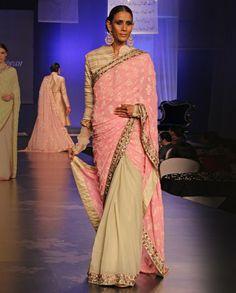 Pink Chikankari-Beige Patch Saree @ http://www.ManishMalhotra.in/women.html eStore