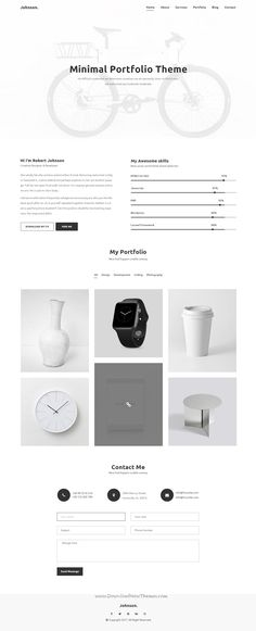 Jhonson is clean and #minimal design PSD template for creative #resume and #portfolio showcase website with 9 layered PSD pages to live preview & download click on Visit  #psdmockups
