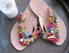Athena  Leather sandals Flip flops by sivylla on Etsy, €55.00