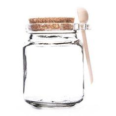 240mL Clear Glass Jar with Cork Lid & Wood Spoon